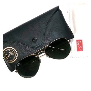 Ray Ban aviator gold sunglasses case and cloth.